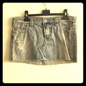 Silver denim skirt